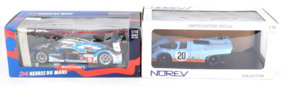 TWO 1/18 SCALE BOXED DIECAST MODEL RACING CARS