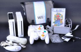 TWO NINTENDO WII CONSOLES, CONTROLLERS, ACCESSORIES & GAMECUBE GAME