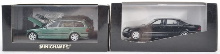 TWO ORIGINAL MINICHAMPS 1/43 SCALE BOXED DIECAST MODEL CARS