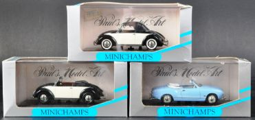 COLLECTION OF X3 MINICHAMPS DIECAST MODEL CARS