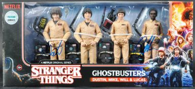 GHOSTBUSTERS - STRANGER THINGS - AUTOGRAPHED ACTION FIGURE SET