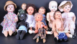 COLLECTION OF X10 VINTAGE HARD PLASTIC & BISQUE HEADED DOLLS