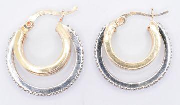 PAIR OF 14CT GOLD & WHITE STONE HOOP EARRINGS