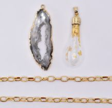 GEODE PENDANT WITH GLASS & GOLD LEAF BOTTLE PENDANT