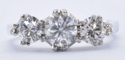 WHITE GOLD & DIAMOND THREE STONE RING