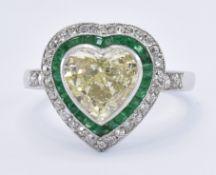 YELLOW DIAMOND & EMERALD HEART DRESS RING
