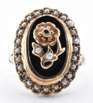 9CT GOLD ONYX & SEEDPEARL RING