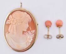 9CT GOLD CAMEO BROOCH & CORAL EARRINGS