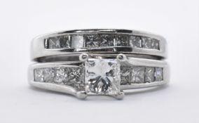 14CT WHITE GOLD DOUBLE ETERNITY DIAMOND RING