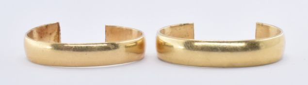 TWO 18CT GOLD BAND RINGS