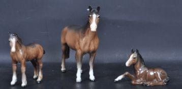 THREE VINTAGE 20TH CENTURY BESWICK CERAMIC HORSES