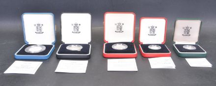 COLLECTION OF FIVE SILVER PROOF PIEDFORT .925 COINS