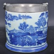 VICTORIAN REVIVAL BLUE AND WHITE BISCUIT BARREL