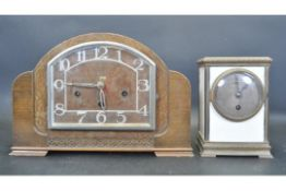 EARLY 20TH CENTURY ART DECO MANTEL CLOCK TOGETHER WITH ANOTHER
