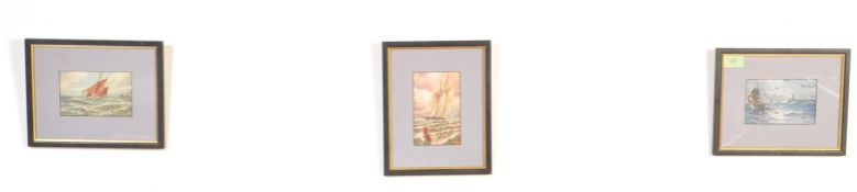 GROUP OF THREE 20TH CENTURY FRAMED MARITIME POSTCARDS