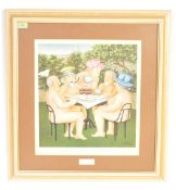 BERYL COOK - TEA IN THE GARDEN - FRAMED LITHOGRAPHIC PRINT