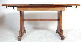 1930'S ART DECO OAK REFECTORY EXTENDING DINING TABLE