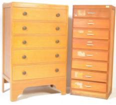 TWO MID CENTURY PANEL WOOD PEDESTAL CHEST OF DRAWERS