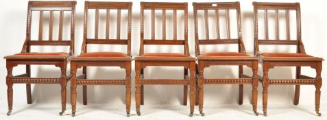SET OF FIVE 19TH CENTURY VICTORIAN REFORMED GOTHIC DINING CHAIRS