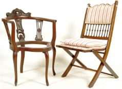 LATE 19TH CENTURY VICTORIAN MAHOGANY CORNER CHAIR AND A CHAMPAGNE FOLDING CHAIR