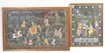 TWO VINTAGE 20TH CENTURY INDIAN MUGHAL STYLE REVERSE PAINTED PICTURES