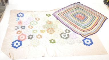 TWO VINTAGE 20TH CENTURY WELSH BLANKETS / BEDSPREAD