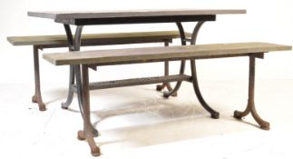 CONTEMPORARY SLATE TOPPED PICNIC TABLE AND TWO BENCHES