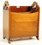 OAK MAGAZINE RACK AND A WILLIAM AND MARY STYLE NEST OF TABLES