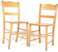 A PAIR OF RETRO VINTAGE 1960'S BEECH AND ELM SCHOOL CHAIRS