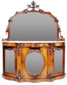 19TH CENTURY VICTORIAN CARVED WALNUT CREDENZA