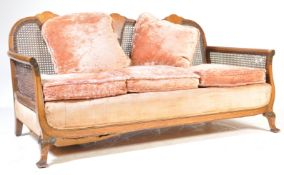 1930'S QUEEN ANNE WALNUTE BERGERE CANED SOFA SETTEE