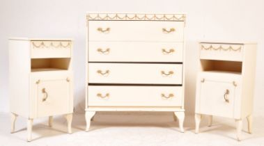 LOUIS 16TH REVIVAL BEDSIDE CABINETS & CHEST OF DRAWERS