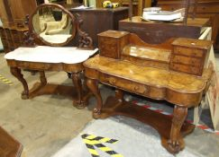 A Victorian walnut dressing chest and matching marble-top wash stand, (the dressing chest mirror now