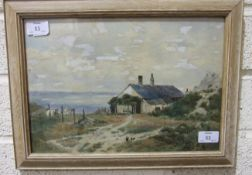 Benjamin John Ottewell CLIFF-SIDE COTTAGE, LOOKING OUT TO SEA, watercolour, initialled B J O,