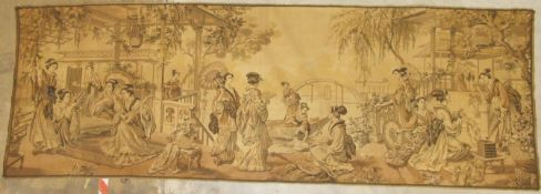 A 20th century Continental machine-made tapestry depicting numerous Japanese geishas, with buildings