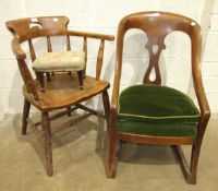 An elm seated spindle-back office armchair, a mahogany framed armchair with upholstered seat on