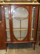 A mahogany glazed display cabinet, 154cm high, 108cm wide.