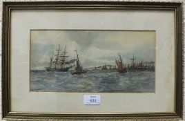 William Cannon (Fl. 1860-1901) SAILING SHIPS IN FULL SAIL, signed watercolour, 29 x 14cm and a