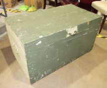 An early 20th century metal bound painted wooden chest with tin lining, 98cm wide, (split to lid).
