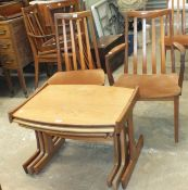 A set of six G-Plan hardwood high-back dining chairs, including two carver chairs, with E Gomme