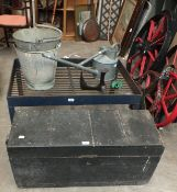 An iron milk churn stand, 25 x 94cm, a galvanised watering can, two buckets and other items.