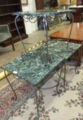 Three 20th century onyx-top wrought iron-framed occasional tables, 45cm square, (3).