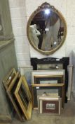 A quantity of pictures and prints, a gilt-framed oval mirror and three other mirrors.