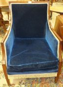 An Edwardian mahogany-framed upholstered salon chair with high back, on square tapered legs and a