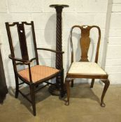 A mahogany spiral-carved torchère, a walnut dining chair, an inlaid bedroom chair, a reproduction