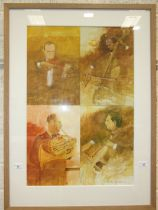 Michael Whittlesea (b. 1938), 'Musicians', four sketches of musicians framed as one, signed