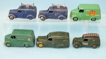 "Dinky Toys, Trojan Vans: 452 ""Chivers Jellies"" and 453 ""Cydrax"", 261 Post Office Telephones van, 472"