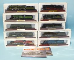 Atlas, ten boxed locomotive models (static), on plinths and a quantity of boxed Models of