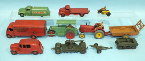 Dinky Toys, 514 Guy Van 'Slumberland', 441 'Castrol' Petrol Tanker and other Dinky diecasts, (play-