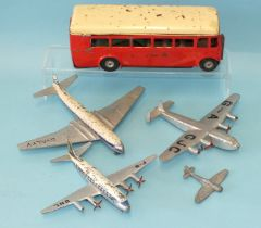 Dinky Toys, Aircraft: 702 Comet, 704 York, 706 Viscount and Tempest II and a Triang Minic single-